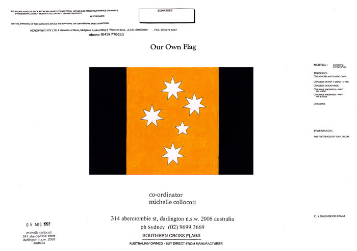 Below are photographs of my proposed design for an Australian flag which